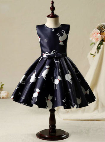A-Line Ruffles Scoop Neck Sleeveless Bow Sash 2017 Flower Girl Dresses Black Short