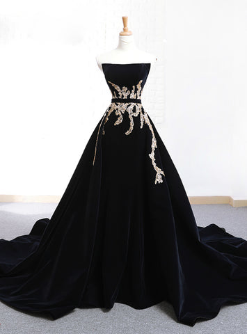 Black Velvet Strapless Appliques Crystal With Long Train Wedding Dress
