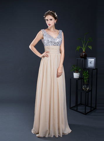 Simple Champagne Chiffon Sequins V-neck Long Bridesmaid Dress