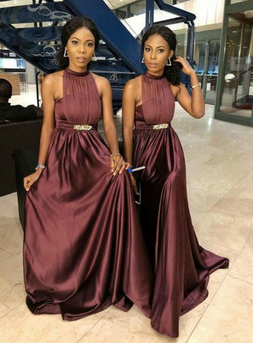 Burgundy Dramatic Halter Sleeveless Satin Pleats Bridesmaid Dress