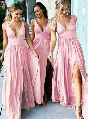 Simple Deep Slit Deep V Neck Floor Length Bridesmaid Dresses