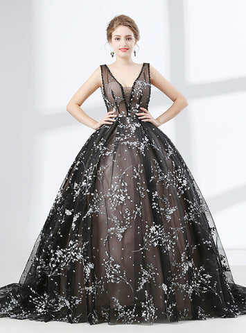 Black Ball Gown Tulle V-neck Backless Floor Length Prom Dress