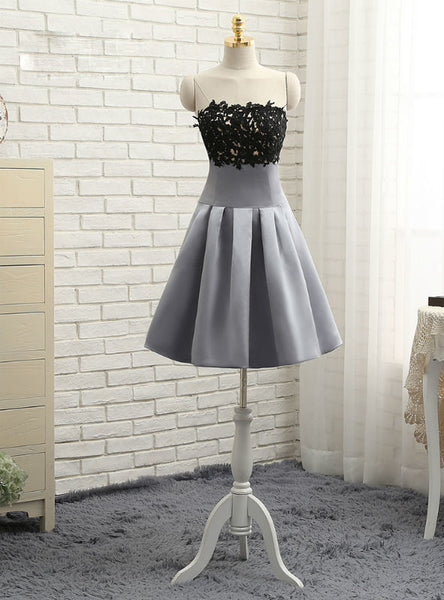 Pretty Gray 2017 Homecoming Dresses A-line Strapless Knee Length