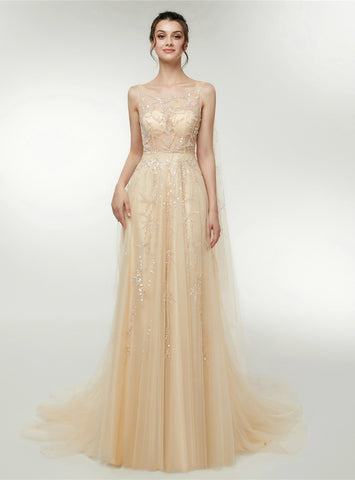 A-Line Champagne Tulle Sequins Backless Floro Length Prom Dress