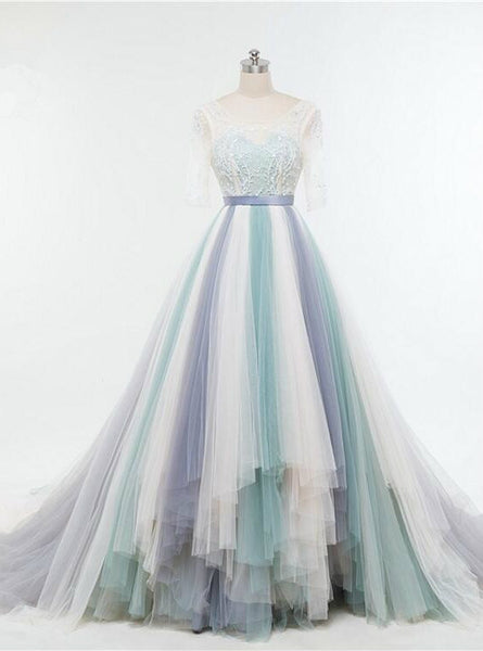 Sweetheart Illusion Lace Floor Length Colorful Tulle Wedding Gown Featuring