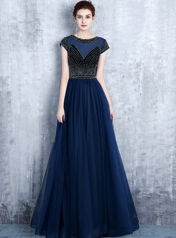 A-line Navy Blue Tulle Cap Sleeve Sequins Long Prom Dress