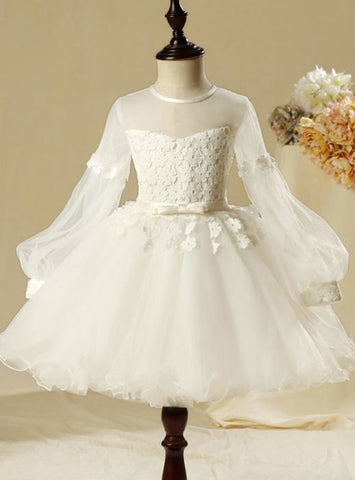2017 Long Sleeve Scoop Neck Flower Appliques Flower Girl Dresses White Ball Gown