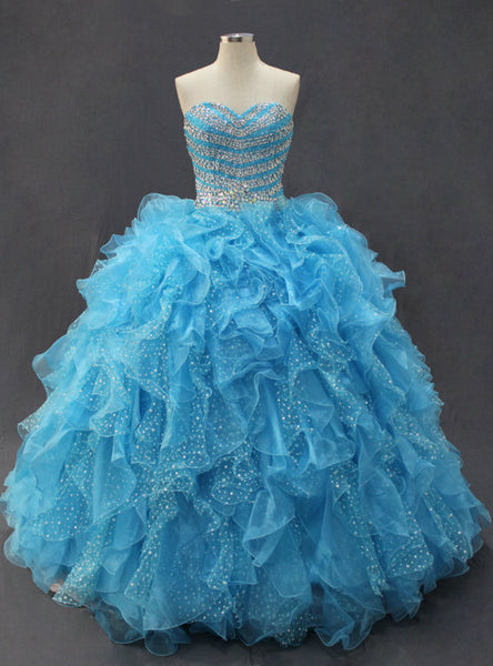 Blue Ball Gown Quinceanera Dresses Cheap prom dresses 2017 Stunning