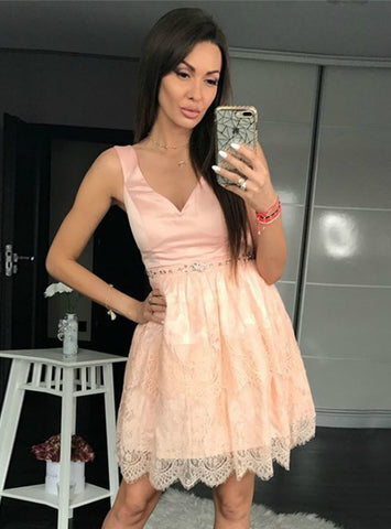 A-Line V-neck Pink Lace Beading Short Homecoming Dress