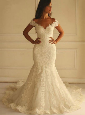 White Mermaid Lace Tulle Off The Shoulder Long Wedding Dress