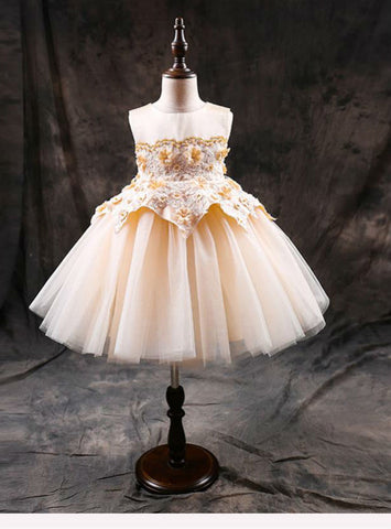 Princess Ball Gowns Flower Girl's Dresses First Communion Dress Birthday Zipper