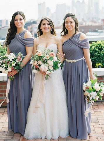 A-Line Gray One Shoulder Sleeveless Ruffles Chiffon Long Bridesmaid Dresses