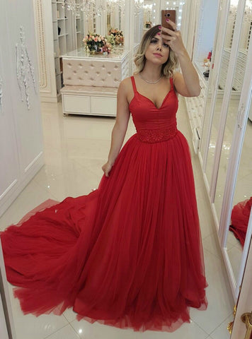 A-Line Red Spaghettis Traps Deep V-neck Tulle Backless Long Prom Dress