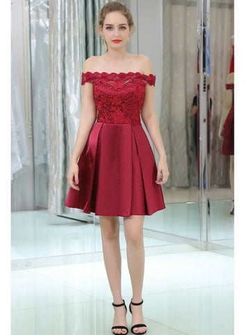 A-Line Burgundy Off The Shoulder Lace Satin Cocktail Dress