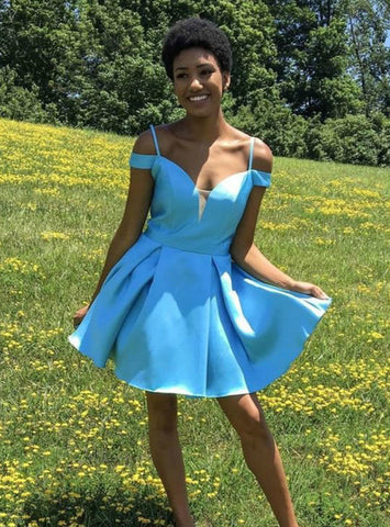 A-Line Off The Shoulder Blue Satin Homecoming Dresses With Bowknot