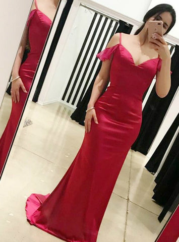 Red Satin Mermaid Cold Shoulder Deep V-neck Open Back Prom Dress