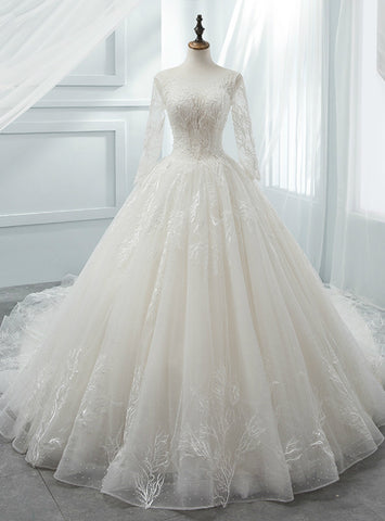 Luxurious White Ball Gown Scoop Long Sleeve Tulle Wedding Dress