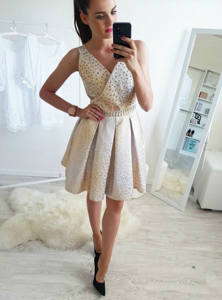A-Line Above-Knee Champagne Homecoming Dress Beading