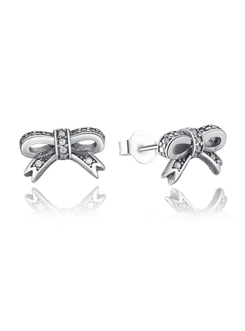 925 Sterling Silver Sparkling Bow Stud Earrings