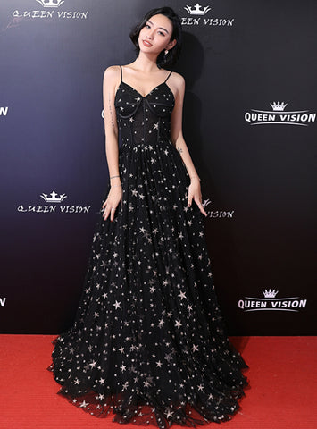 In Stock:Ship in 48 Hours A-Line Black Tulle Spaghetti Straps Long Prom Dress