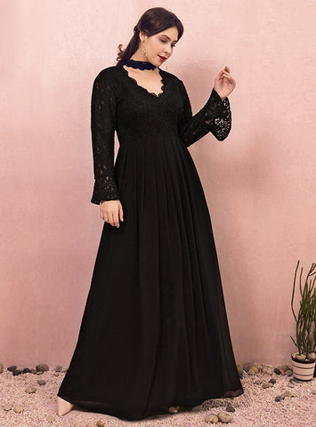 Plus Size Black Long Sleeve Lace Chiffon V-neck Prom Dress
