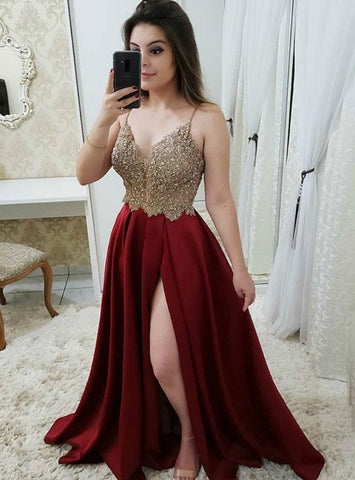 Burgundy V-Neck Beaded Appliques Long Prom Dress With High Slit Split
