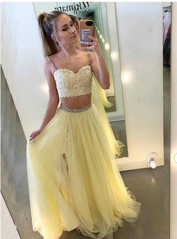 Yellow Tulle Lace Two Piece Spaghetti Straps Prom Dress With Beading