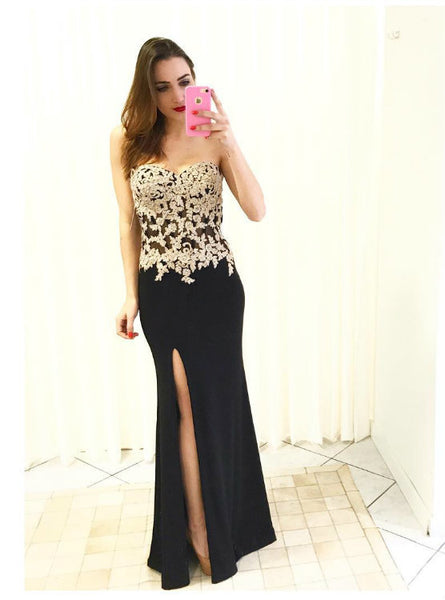 Sheath Prom Dresses Evening Gowns with Side Slit Long Sweetheart Lace Bodice