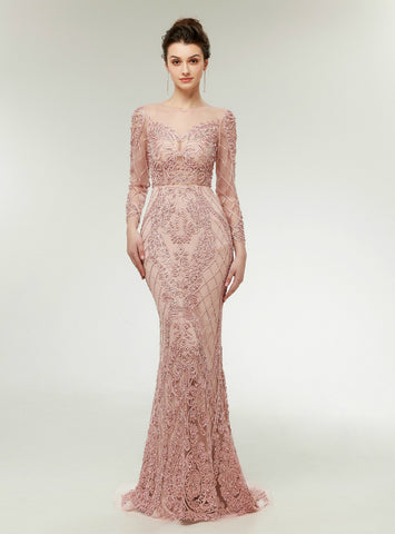 Pink Mermaid Lace Appliques Long Sleeve Floor Length Prom Dress