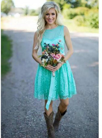Adorable Fashion Short Lace Country Bridesmaids Dresses