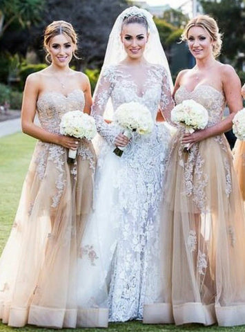 High quality Champagne Sweetheart Bridesmaid Dress with Lace Appliques