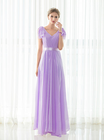 Fashion Light Purple V-neck Pleats Floor Length Bridesmaid Dress