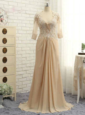 A-line Half Sleeves Chiffon Champagne 2017 Mother Of The Bride Dresses