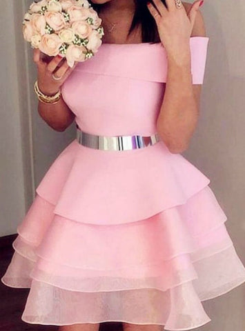 Pink Off the Shouder Organza Short Homecoming Dress With Sash