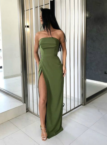 Simple Green Strapless Long Pageant Dress with Side Split