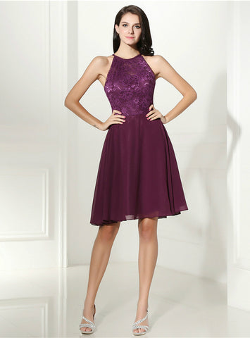 Purple Chiffon Lace Halter Backless Knee Length Homecoming Dress