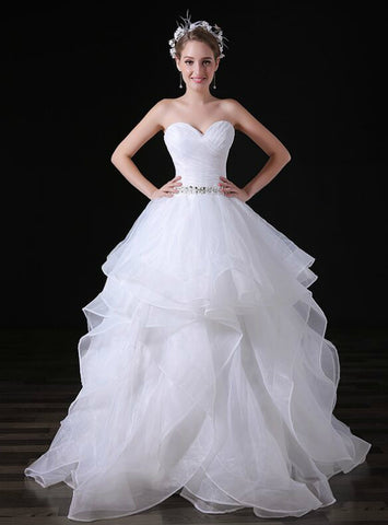 White Tulle Sweetheart Neck Tulle Pleats Weddign Dress With Crystal
