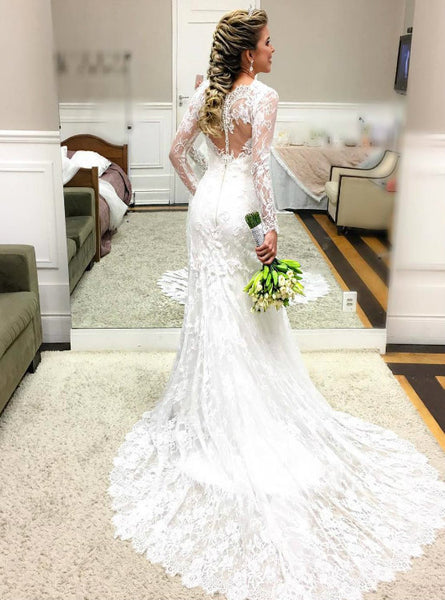 Unique Lace Mermaid Wedding Dress with Sheer Long Sleeves