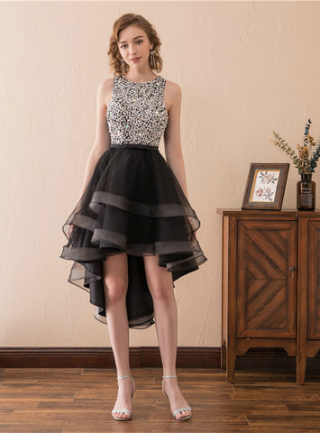 A-Line Black Tulle Hi Lo Backless Little Homecoming Dress With Beading