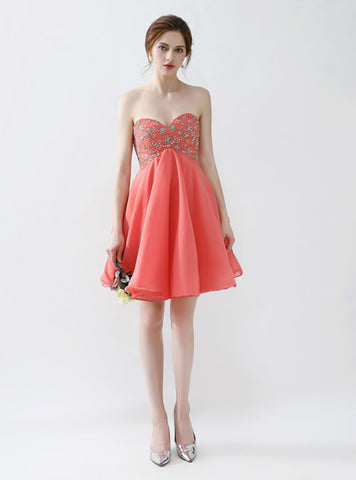 Red Chiffon High Waist Sweetheart Neck Short Beading
