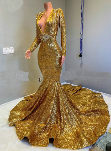 Gold Long Sleeves Mermaid Deep V-neck Prom Dresses with Long Train