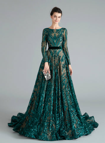 Fashion Dark Green Sequins Long Sleeve Backless Long Prom Dress
