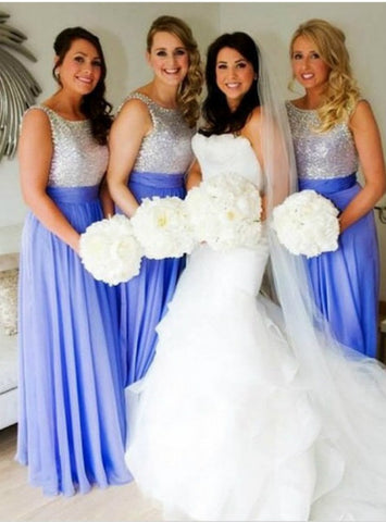Fairy Tale Blue Sleeveless Bridesmaid Dress Floor-Length