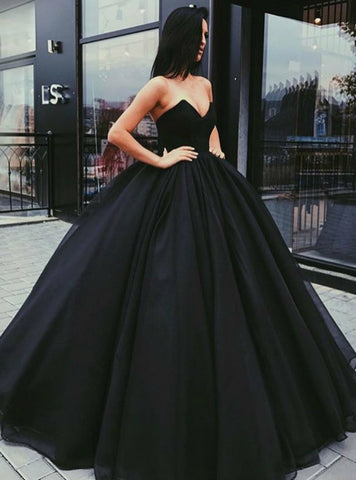 Black V-Neck Puffy Tulle Ruched Sweetheart Long Prom Dresses