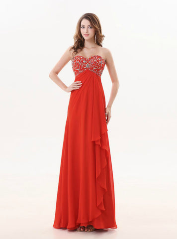 Luxurious A Line Red Long Sweetheart Beaded Bridesmaid Dress