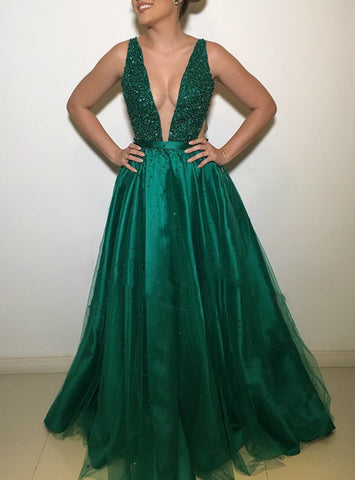 Green Deep V-Neck Open Back Tulle Backless Beaded Rhinestone Long Prom Dress
