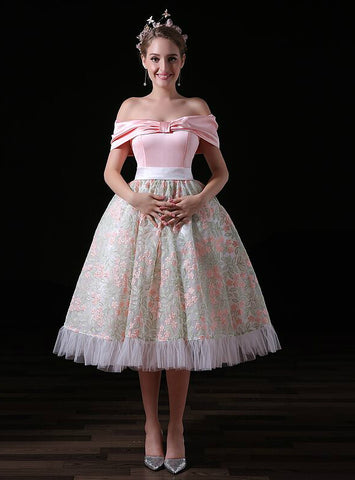 Pink Ball Gown Satin Print Tulle Off The Shoulder Princess Homecoming Dress