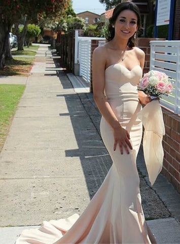 Fashion Simple Mermaid Sweetheart Sweep Train Satin Bridesmaid Dress