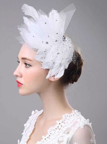 Hair Accessories For Bride Elegant Headwear White Feather