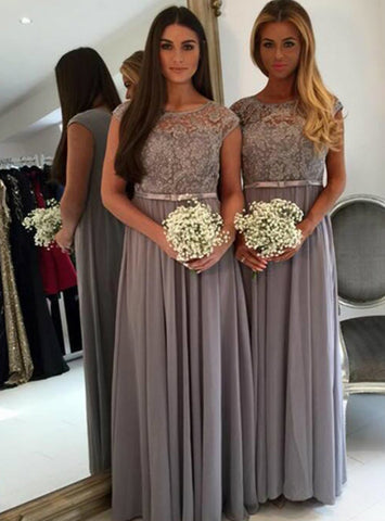 Fabulous Cap sleeve bridesmaid dress grey bridesmaid dress long bridesmaid dress